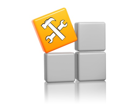 technical support: 3d orange cube with service sign with tools on grey boxes