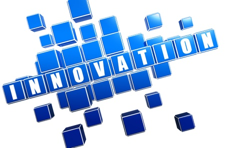 ingenious: innovation text in 3d blue cubes with white letters Stock Photo