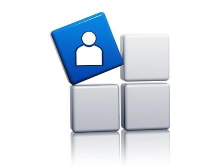 3d cube bleu avec un signe personne sur les boîtes grises