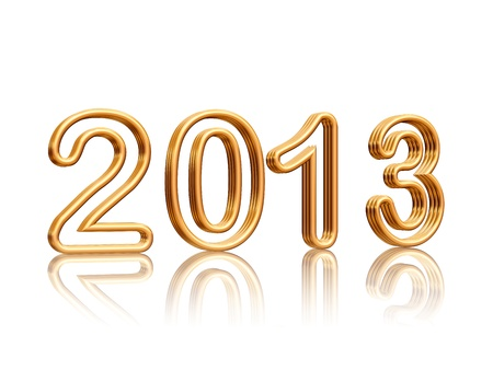 3d golden metal text with figures year 2013 with reflection Stock Photo - 15469873