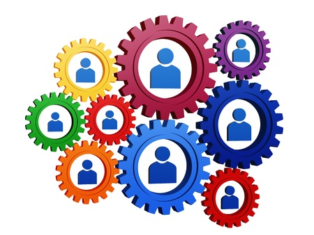 3d colorful gearwheels with blue person signs Stock Photo