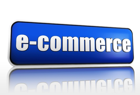 e-commerce 3d blue block like banner with white text photo
