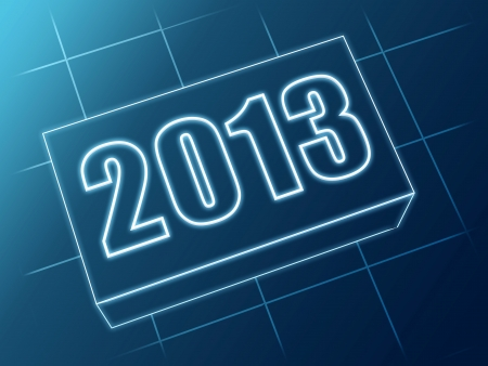text year 2013 in 3d blue glass box with white figures like ciphers Stock Photo - 15469892