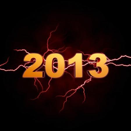 golden year 2013 with lightning over dark background Stock Photo - 15469878