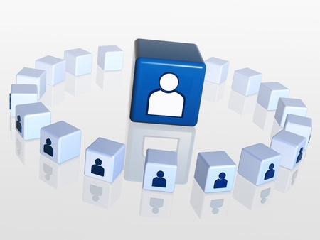 forums: circle of 3d cubes with person sign, one big boxes in the middle Stock Photo
