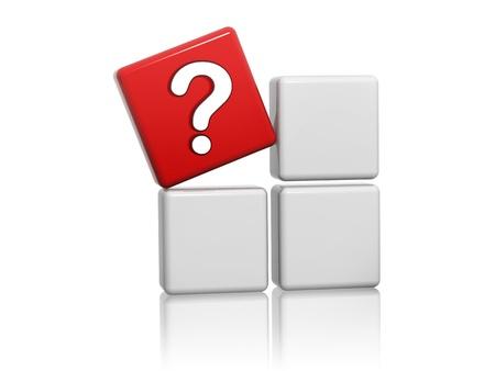 interrogativa: Cubo 3d rojo con el signo de interrogación en las cajas grises
