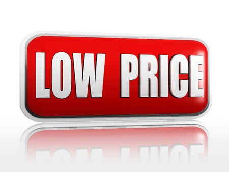 low prices: low price 3d red banner with white text