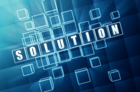 realization: solution text in 3d blue glass cubes with white letters
