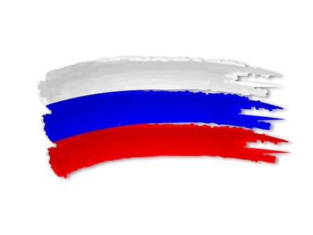 russland karte: Illustration der isolierten Hand gezeichnet russischen Flagge
