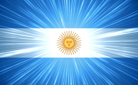 argentinean: Argentine flag with light rays abstract background Stock Photo