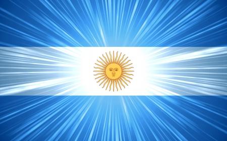 argentina bandera: Bandera argentina con luz de fondo abstracto rayos Foto de archivo