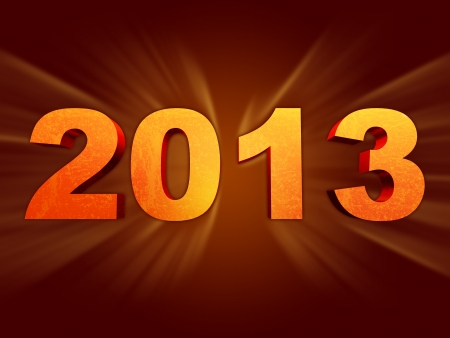 golden year 2013 with light rays over dark background Stock Photo - 15561412