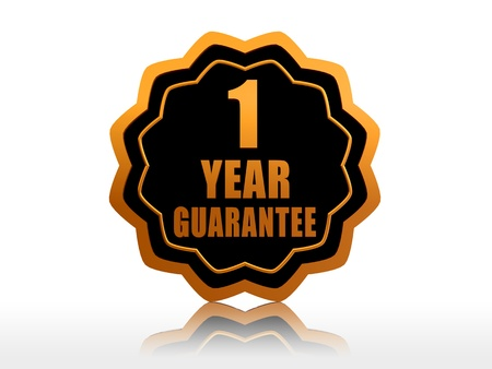 one year guarantee - golden starlike label with text  photo