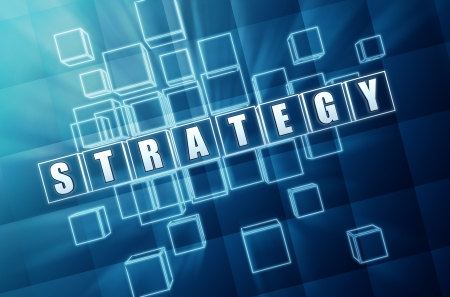 inventive: strategy text in 3d blue glass cubes with white letters