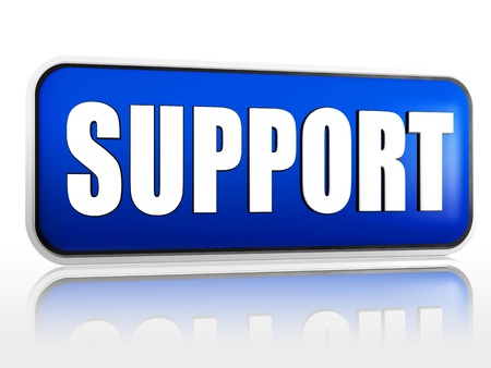 support 3d blue banner with white text Stock Photo - 15564958