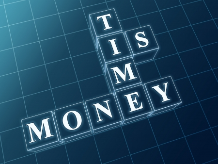 moneymaker: text time is money in 3d blue glass boxs with white letters  Stock Photo
