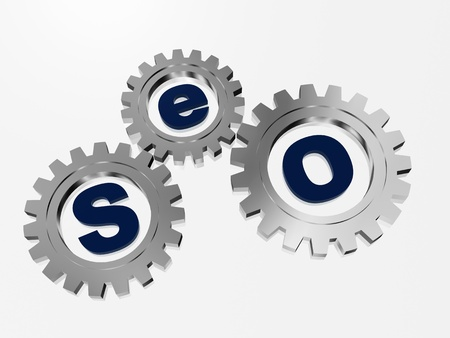 SEO text in 3d silver metal gearwheels with letters Stock Photo - 15564963