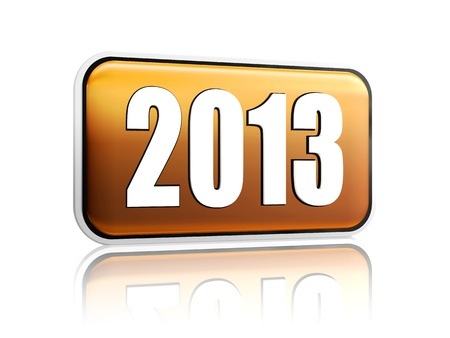year 2013 3d golden banner with white figures like ciphers Stock Photo - 15627954