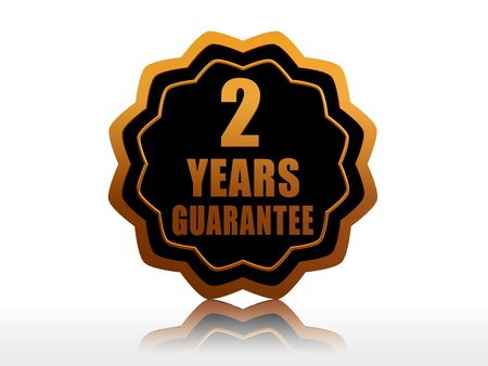 two years guarantee - golden starlike label with text photo