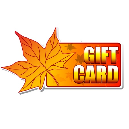 text gift card - label with autumn leaf like banner photo
