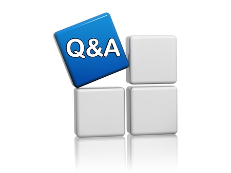 q a - 3d blue cube with question and answer sign on grey boxes Stock Photo - 15627949