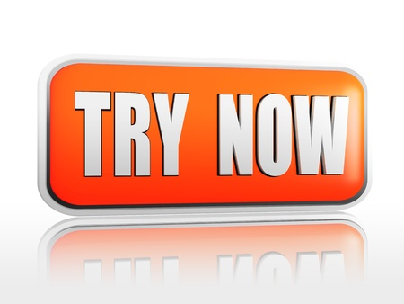 trial: text try now in 3d orange banner, internet concept Stock Photo