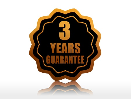 three years guarantee - golden starlike label with text photo