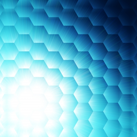 hexahedral: abstract blue background with hexagons and white light