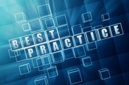 best practice: best practice text in 3d blue glass cubes, business concept