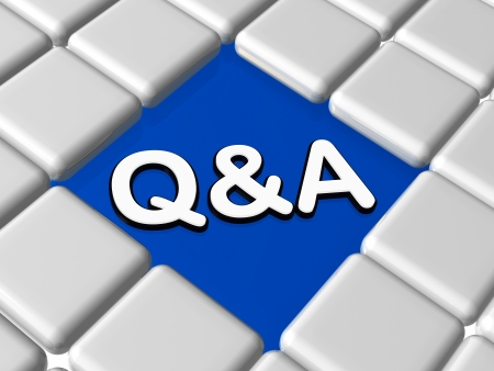 q a - 3d question and answer sign over blue between grey boxes Stock Photo - 15708392