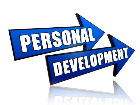 text personal development in 3d blue arrows photo