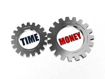 moneymaker: text time money - words in 3d silver grey metal gearwheels, business concept