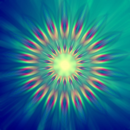 wreathe: abstract rainbow colorful rays lights in circles over blue background