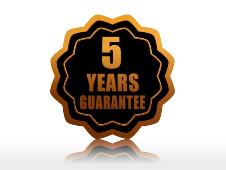 five years guarantee - golden starlike label with text photo