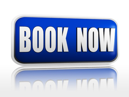 discount buttons: book now 3d blue banner with white text, business concept Stock Photo