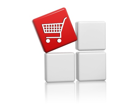 Bid: 3d red cube with shopping cart sign on grey boxes Stock Photo