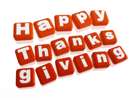 text happy thanksgiving in 3d orange cubes with letters