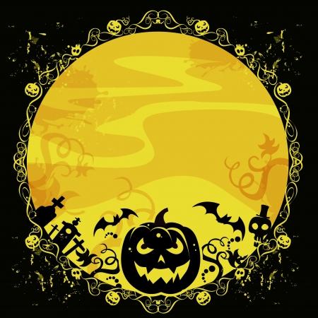 churchyard: halloween illustration, pumpkin, churchyard, bats, skulls on the moon Stock Photo