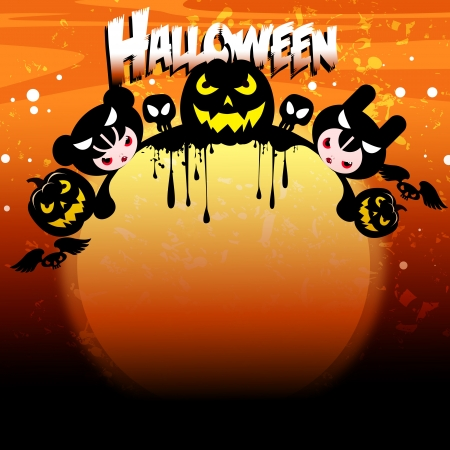 31: illustration, text halloween, pumpkins, witches, bats, skulls, moon