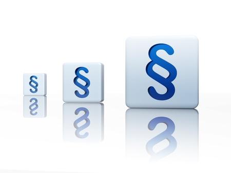 Cubes 3d avec le signe de l'alinéa bleu - trois boîtes Banque d'images