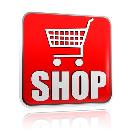 earn money online: 3d red banner with shopping cart sign and text shop, business concept