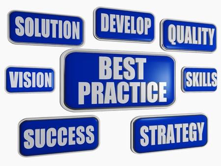oefenen: 3d blauwe banners met woorden bedrijfsconcept - best practice