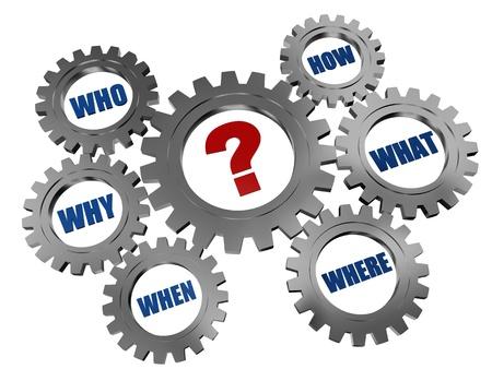 붉은 질문 - 마크 및 3 차원은 회색 톱니 바퀴에 파란색 단어 스톡 콘텐츠