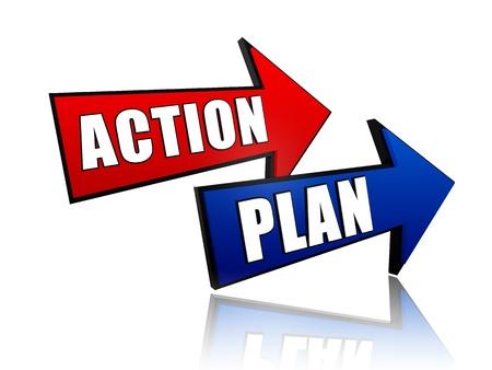 plan de accion: acción y plan - palabras en 3D flechas de colores con el texto Foto de archivo