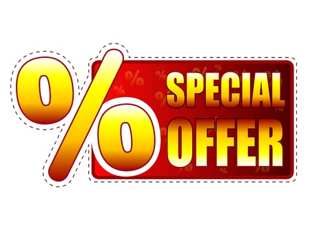 special offer - red and yellow label with text and percentage sign photo