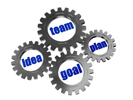 fulfil: text idea, team, plan, goal - words in 3d silver grey gearwheels