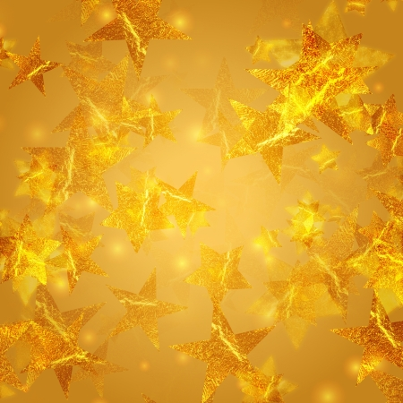 shining golden stars over beige background, abstract christmas card photo