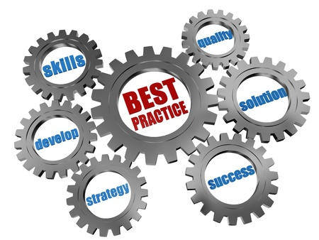 best practices: 3d silver grey gearwheels with words business concept - best practice Stock Photo