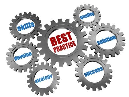 oefenen: 3d zilvergrijs tandwielen met woorden business concept - best practice