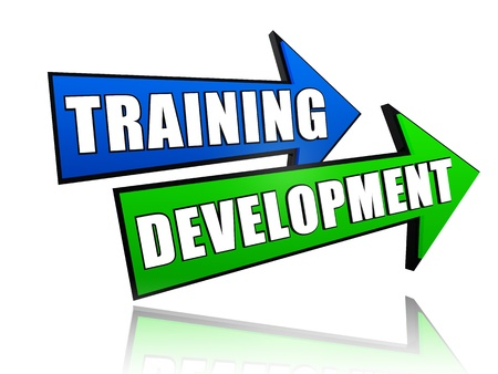 text training development in 3d colored arrows, business concept photo
